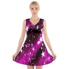 Star Christmas Sky Abstract Advent V Neck Sleeveless Skater Dress