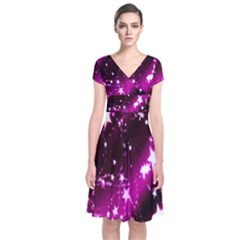 Star Christmas Sky Abstract Advent Short Sleeve Front Wrap Dress