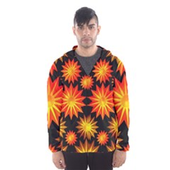 Stars Patterns Christmas Background Seamless Hooded Wind Breaker (Men)