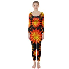 Stars Patterns Christmas Background Seamless Long Sleeve Catsuit