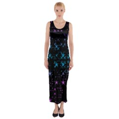 Stars Pattern Fitted Maxi Dress