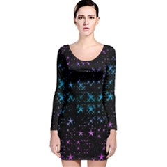 Stars Pattern Long Sleeve Velvet Bodycon Dress