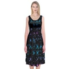 Stars Pattern Midi Sleeveless Dress
