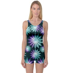 Stars Pattern Christmas Background Seamless One Piece Boyleg Swimsuit