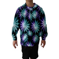 Stars Pattern Christmas Background Seamless Hooded Wind Breaker (kids)