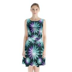 Stars Pattern Christmas Background Seamless Sleeveless Chiffon Waist Tie Dress