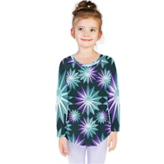 Stars Pattern Christmas Background Seamless Kids  Long Sleeve Tee