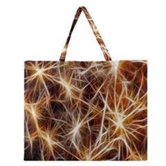 Star Golden Christmas Connection Zipper Large Tote Bag