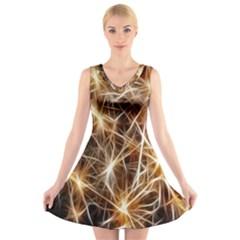 Star Golden Christmas Connection V Neck Sleeveless Skater Dress