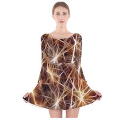 Star Golden Christmas Connection Long Sleeve Velvet Skater Dress