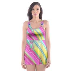 Star Christmas Pattern Texture Skater Dress Swimsuit