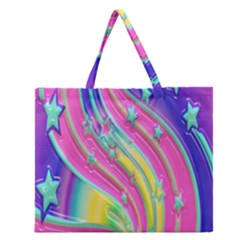 Star Christmas Pattern Texture Zipper Large Tote Bag