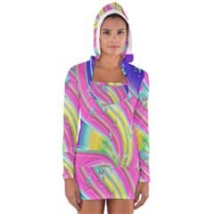 Star Christmas Pattern Texture Women s Long Sleeve Hooded T-shirt
