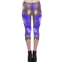 Stars Patterns Christmas Background Seamless Capri Leggings