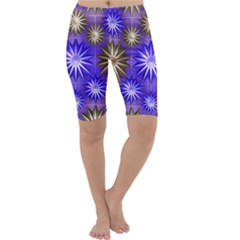 Stars Patterns Christmas Background Seamless Cropped Leggings