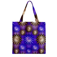 Stars Patterns Christmas Background Seamless Zipper Grocery Tote Bag