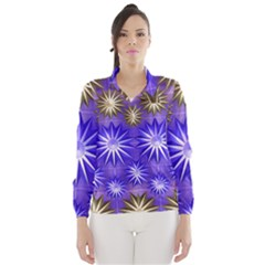 Stars Patterns Christmas Background Seamless Wind Breaker (Women)