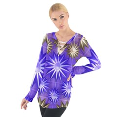 Stars Patterns Christmas Background Seamless Women s Tie Up Tee