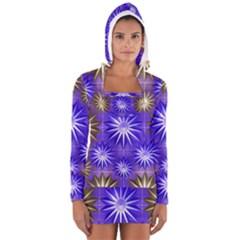 Stars Patterns Christmas Background Seamless Women s Long Sleeve Hooded T-shirt