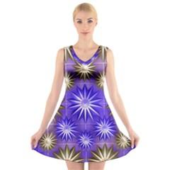 Stars Patterns Christmas Background Seamless V-Neck Sleeveless Skater Dress