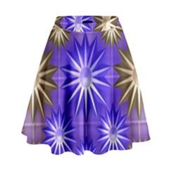 Stars Patterns Christmas Background Seamless High Waist Skirt