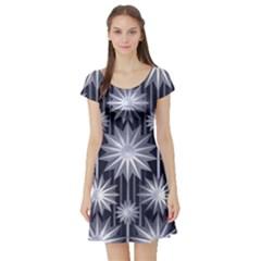 Stars Patterns Christmas Background Seamless Short Sleeve Skater Dress