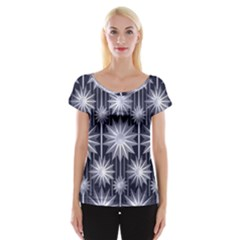 Stars Patterns Christmas Background Seamless Women s Cap Sleeve Top