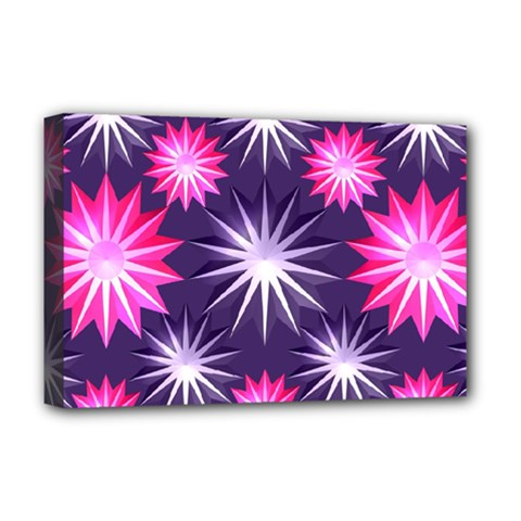 Stars Patterns Christmas Background Seamless Deluxe Canvas 18  x 12