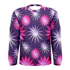 Stars Patterns Christmas Background Seamless Men s Long Sleeve Tee