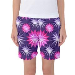 Stars Patterns Christmas Background Seamless Women s Basketball Shorts