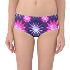 Stars Patterns Christmas Background Seamless Mid-Waist Bikini Bottoms