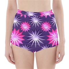 Stars Patterns Christmas Background Seamless High-Waisted Bikini Bottoms