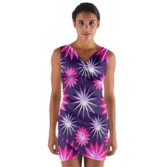 Stars Patterns Christmas Background Seamless Wrap Front Bodycon Dress