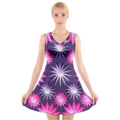 Stars Patterns Christmas Background Seamless V Neck Sleeveless Skater Dress