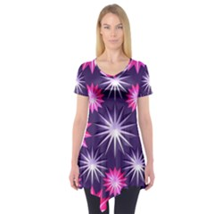 Stars Patterns Christmas Background Seamless Short Sleeve Tunic