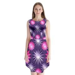 Stars Patterns Christmas Background Seamless Sleeveless Chiffon Dress
