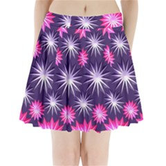 Stars Patterns Christmas Background Seamless Pleated Mini Skirt