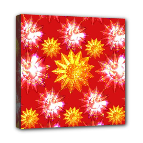 Stars Patterns Christmas Background Seamless Mini Canvas 8  x 8