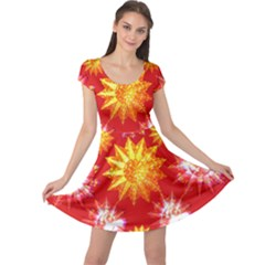Stars Patterns Christmas Background Seamless Cap Sleeve Dresses