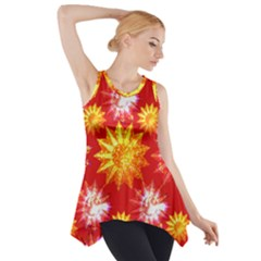 Stars Patterns Christmas Background Seamless Side Drop Tank Tunic