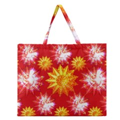 Stars Patterns Christmas Background Seamless Zipper Large Tote Bag