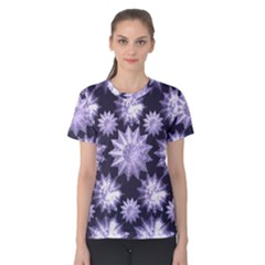 Stars Patterns Christmas Background Seamless Women s Cotton Tee