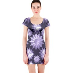 Stars Patterns Christmas Background Seamless Short Sleeve Bodycon Dress