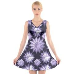 Stars Patterns Christmas Background Seamless V Neck Sleeveless Skater Dress