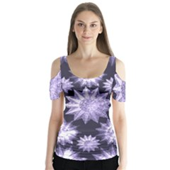 Stars Patterns Christmas Background Seamless Butterfly Sleeve Cutout Tee