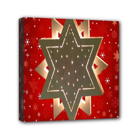 Star Wood Star Illuminated Mini Canvas 6  X 6