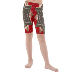 Star Wood Star Illuminated Kids  Mid Length Swim Shorts