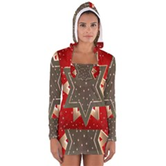 Star Wood Star Illuminated Women s Long Sleeve Hooded T Shirt
