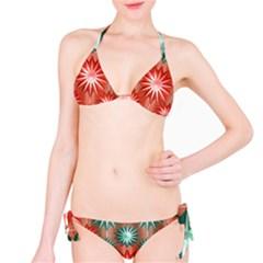 Stars Patterns Christmas Background Seamless Bikini Set