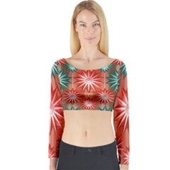 Stars Patterns Christmas Background Seamless Long Sleeve Crop Top